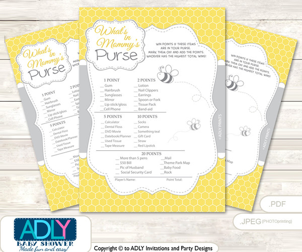 Babee Bumble What is in Mommy's Purse, Baby Shower Purse Game Printable Card ,  Bee,  Neutral