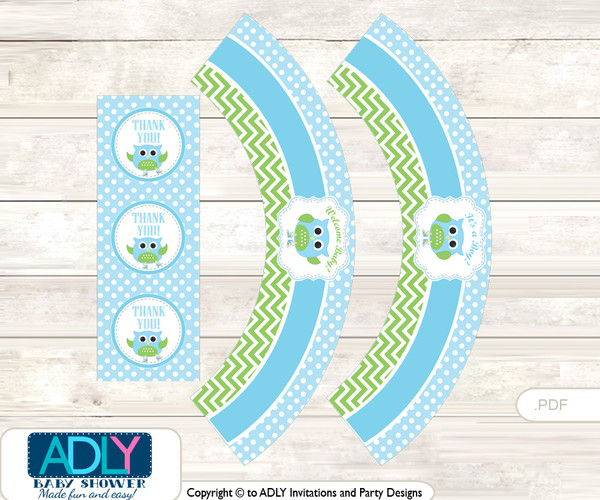 Printable Boy Owl Cupcake, Muffins Wrappers plus Thank You tags for Baby Shower Spring, Blossom
