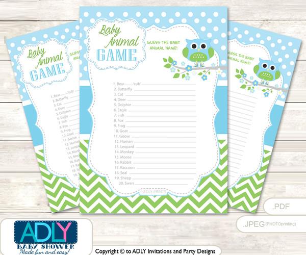 Printable Boy Owl Baby Animal Game, Guess Names of Baby Animals Printable for Baby Owl Shower, Spring, Blossom
