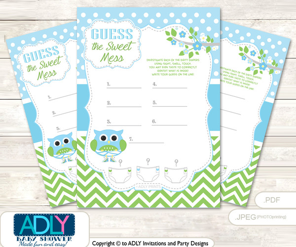 Boy Owl Dirty Diaper Game or Guess Sweet Mess Game for a Baby Shower Spring, Blossom