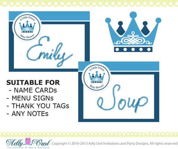 Royal Little Prince Baby Shower Note Card For Menu Name Card Thank