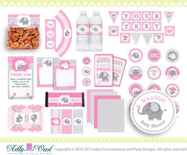 Pink Elephant Baby Girl Shower Printable Party Kit with girl baby