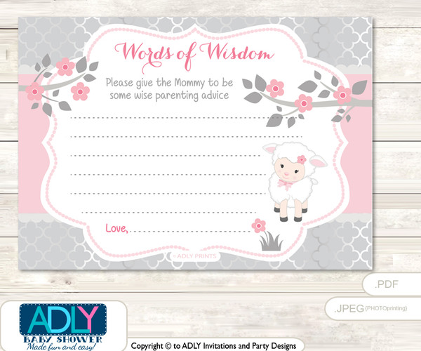 Sheep Pink Lamb Words Of Wisdom Or An Advice Printable Card For Baby