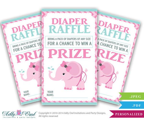 Girl Elephant Diaper Raffle Tickets Printables for Baby Girl Shower