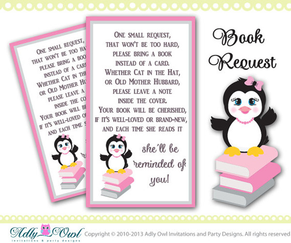Book Request Card Tickets Printables For Girl Penguin Birthday,Baby Shower,  Book Raffle,