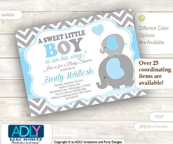 A Sweet Little Boy Elephant Invitation, chevron grey baby blue mommy and baby elephant invitation, little peanut
