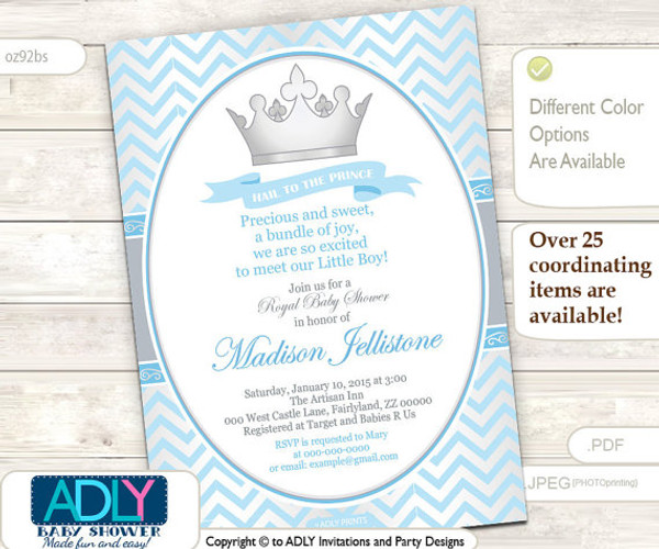 Baby BlueSilver Prince Invitation for Royal Baby Shower Theme