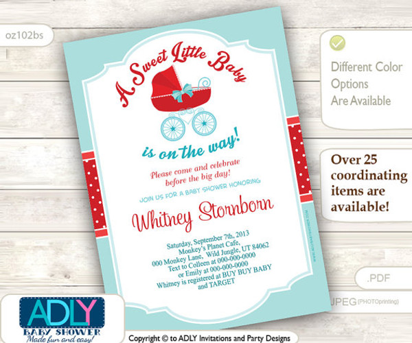 Light Turquoise, Red Gender Neutral Baby Carriage Invitation, baby stroller shower invite, teal red, polka, bow