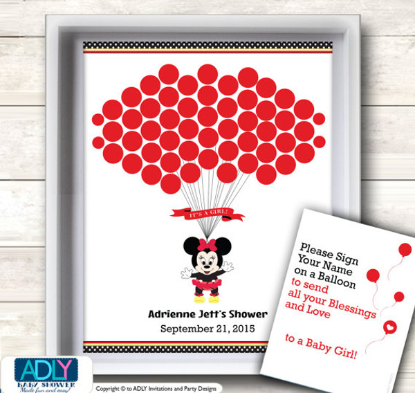 Exceptional Girl Minnie Mouse Guest Book Printable Alternative And Girl Wall Art For Baby  Mouse Shower DIY