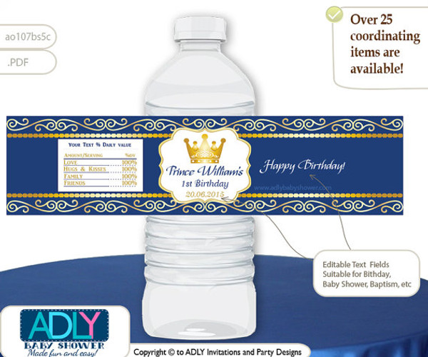 Royal Blue Gold Prince King Birthday Baby Shower Water Bottle