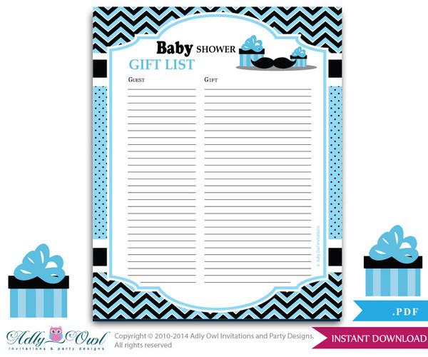 Boy Mustache Guest Gift List , Guest Sign in Sheet Card for Baby shower, birthday  Mustache  DIY Blue Man Chevron- ao58bs53