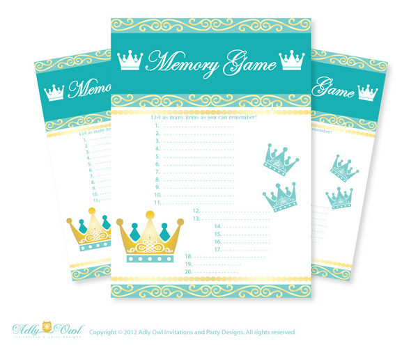 Royal Prince Memory Game for Baby Shower Printable Card for Baby Prince  Shower DIY Crown Teal Gold - ONLY digital file - ao89bs16