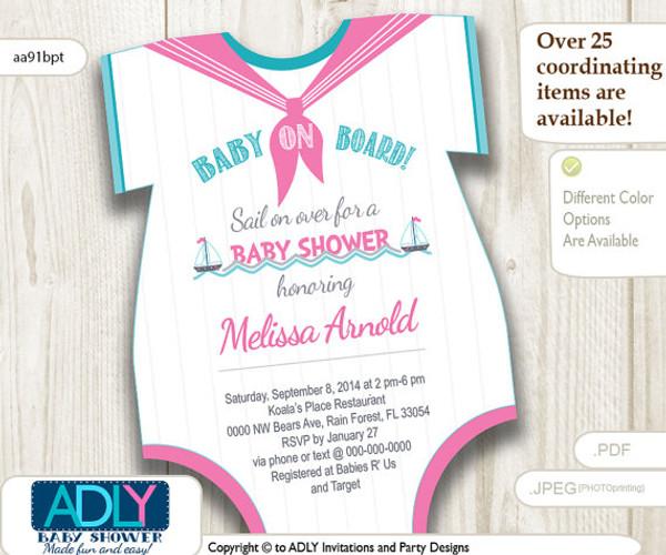 Nautical pink turquoise grey onesies baby shower invitation to nautical pink turquoise grey onesies baby shower invitation to welcome baby girl little girl sailor filmwisefo