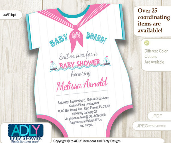 Nautical Pink Turquoise Grey Onesies Baby Shower Invitation To Welcome Baby  Girl. Little Girl Sailor