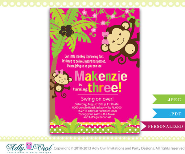Personalized Girl Monkey 3rd Birthday Invitation Card Printable DIY