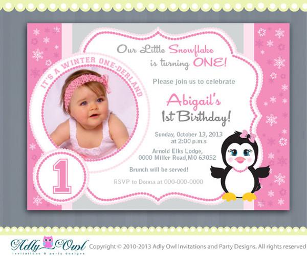 Pink Snowflake Penguin Girl Happy Birthday invitation Printable DIY