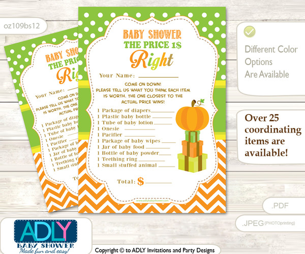 Printable Neutral Pumpkin Price is Right Game Card for Baby Pumpkin Shower, Green Orange, Chevron