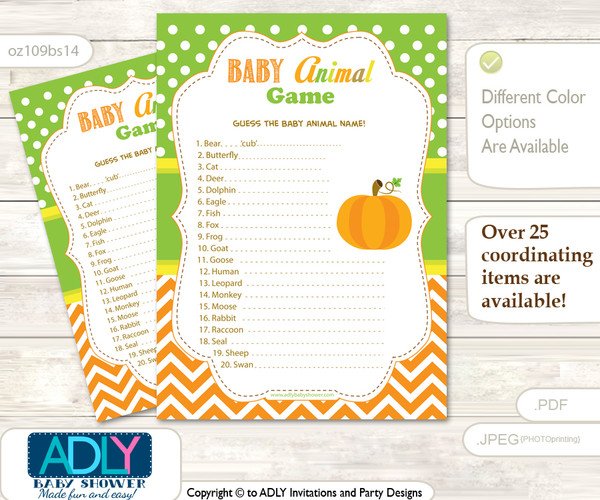 Printable Neutral Pumpkin Baby Animal Game, Guess Names of Baby Animals Printable for Baby Pumpkin Shower, Green Orange, Chevron