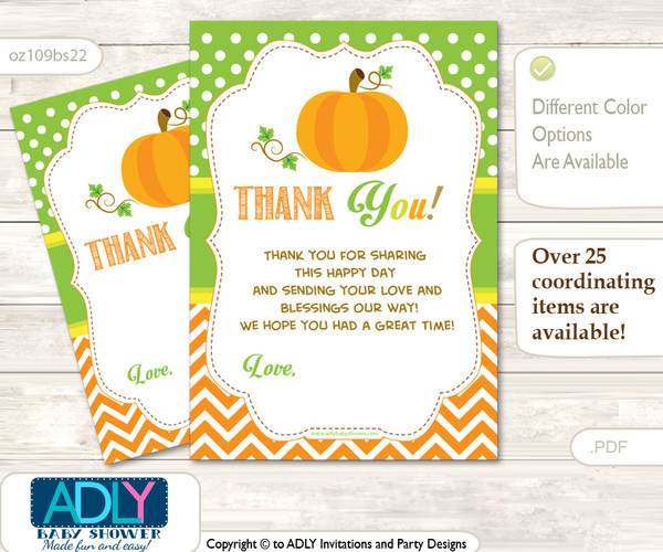 Neutral  Pumpkin Thank you Cards for a Baby Neutral Shower or Birthday DIY Green Orange, Chevron