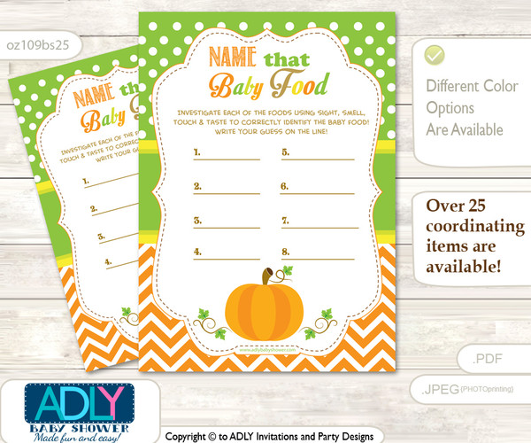 Neutral Pumpkin Guess Baby Food Game or Name That Baby Food Game for a Baby Shower, Green Orange Chevron