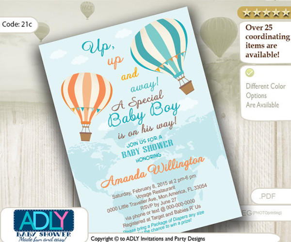 Pastel Turquoise Peach Hot Air Balloon Boy Baby Shower InvitationOh