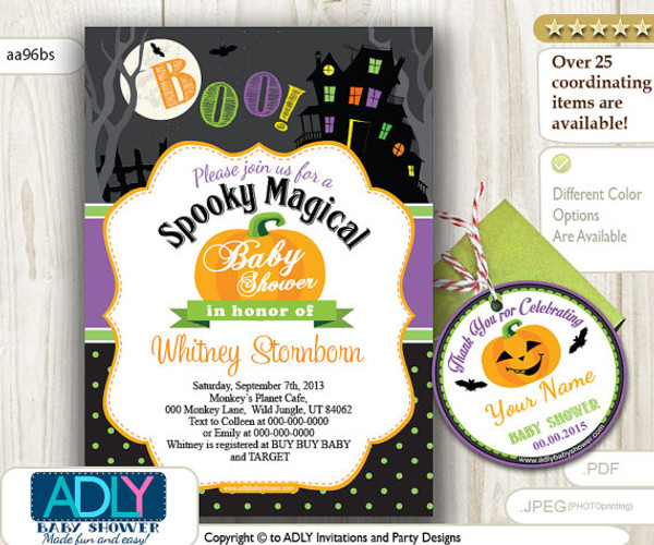 Halloween Baby Shower Invitation, Purple, lime green, orange pumpkin, haunted house, boo shower, spooky shower invitation, bat, moonThank You Favor TAG, Printable invitation girl, chevron, pink, grey