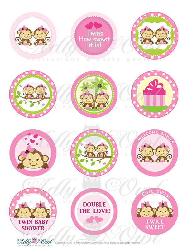 Pink TWIN Girl Monkey Baby Shower Cupcake Toppers Or Favor Tags Printables  DIY, Itu0027s A