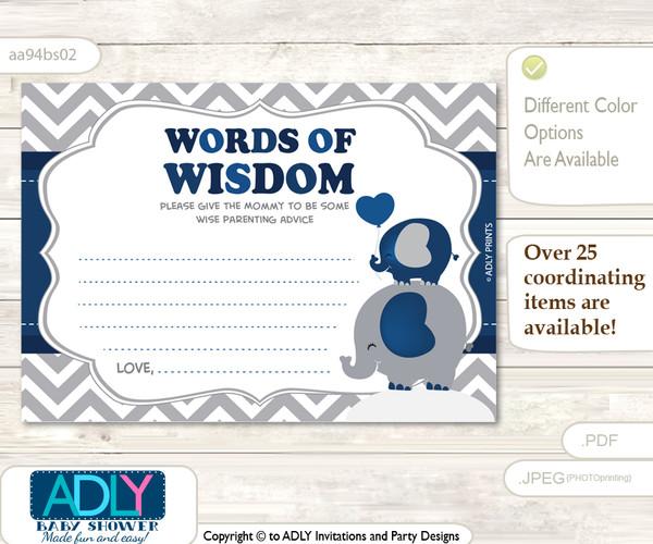 Dark Blue Peanut Elephant Words of Wisdom or an Advice Printable Card for Baby Shower, Chevron
