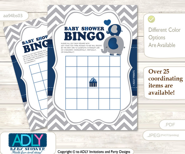 Printable Dark Blue Elephant Bingo Game Printable Card for Baby Peanut Shower DIY grey, Dark Blue, Chevron