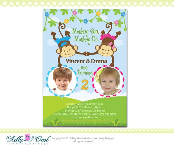 Personalized twin invite second birthday invitation card for boy and personalized twin invite second birthday invitation card for boy and girl with monkeys only digital filmwisefo