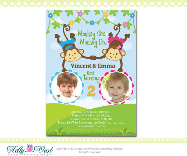 Personalized twin invite second birthday invitation card for boy and personalized twin invite second birthday invitation card for boy and girl with monkeys only digital filmwisefo Choice Image