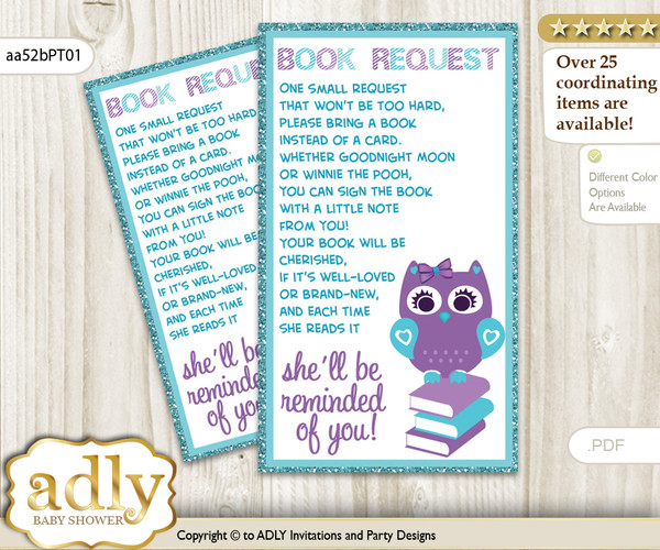 Request a Book Instead of a Card for Girl Owl Baby Shower or Birthday, Printable Book DIY Tickets, Chevron,Teal Purple