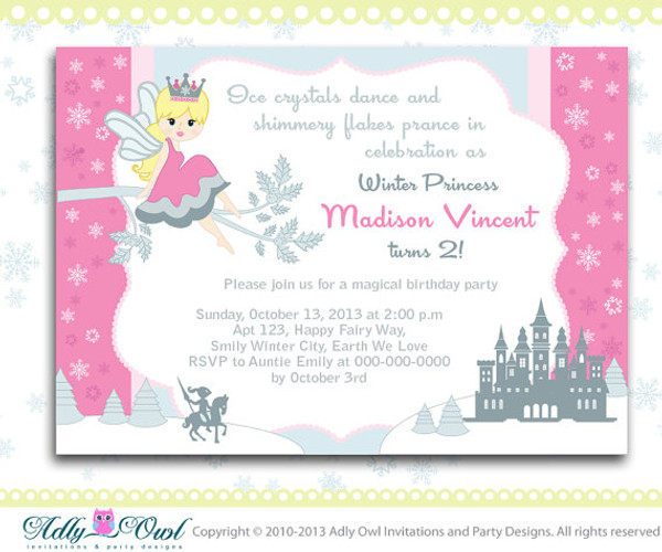 Winter fairy princess girl birthday invitation card with snowflakes winter fairy princess girl birthday invitation card with snowflakes castleprince crown filmwisefo Images