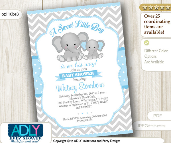 Grey and Baby Blue Elephant Chevron Invitation for a Boy