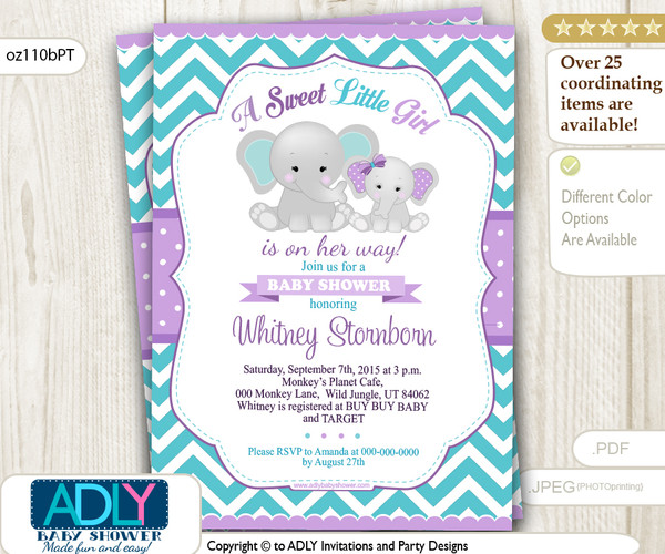 Purple Teal grey girl elephant and mommy baby shower invitation