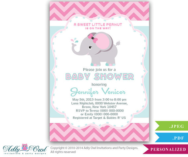 Aqua Pink Gray Elephant Baby Shower Printable DIY Party Invitation For  Girl, Chevron, Pink
