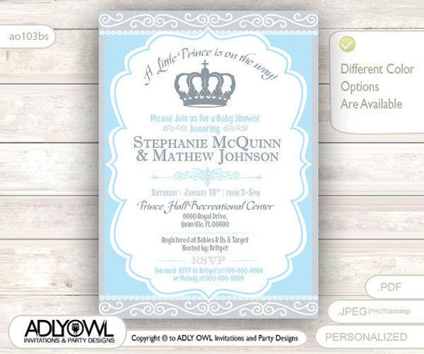 Gray Blue Little Prince Royal Baby Shower Invitation Prince DIY