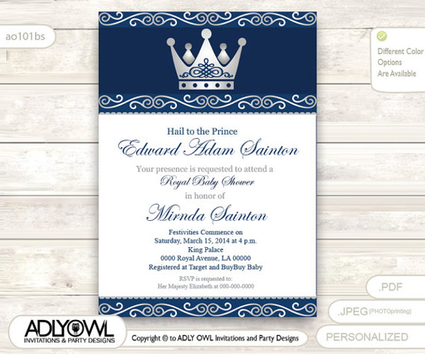 Silver Blue Little Prince Royal Baby Shower Invitation, Prince DIY Party  Invitation For Boy,