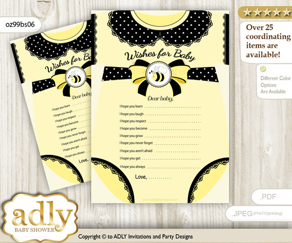 Girl Bee Wishes for a Baby, Well Wishes for a Little Bee Printable Card, Polka, Yellow Black