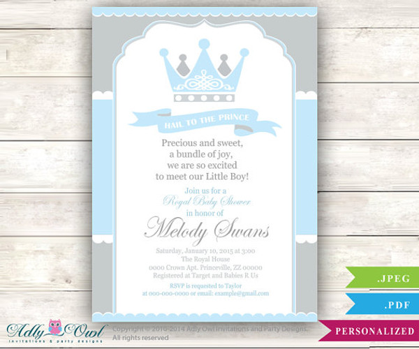 Grey Baby Blue Prince Baby Shower invitation for boy king gray