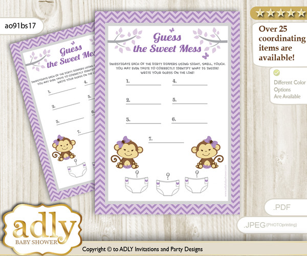 Twins Monkey Dirty Diaper Game or Guess Sweet Mess Game for a Baby Shower Lavender, Girls