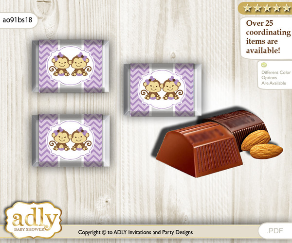 Twins Monkey Chocolate Nuggets Candy Wrapper Label for Baby Twins Shower  Lavender , Girls