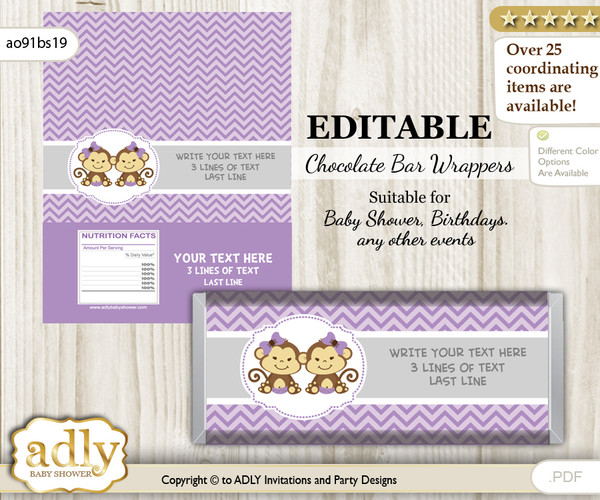 Personalizable Twins Monkey Chocolate Bar Candy Wrapper Label for Twins  baby shower, birthday Lavender , Girls
