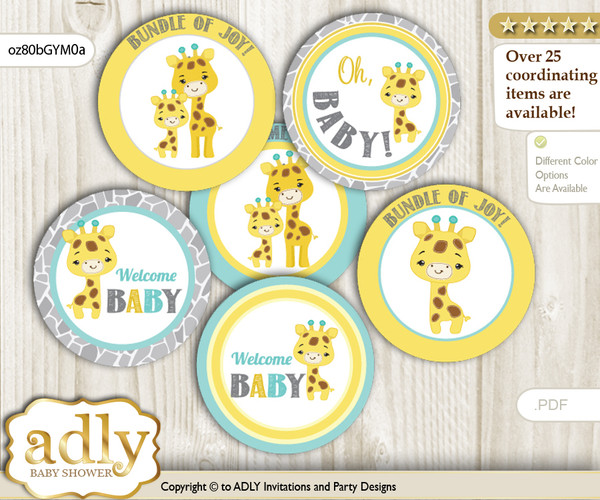 Baby Shower Baby Giraffe Cupcake Toppers Printable File for Little Baby and Mommy-to-be, favor tags, circle toppers, Neutral, Yellow Mint