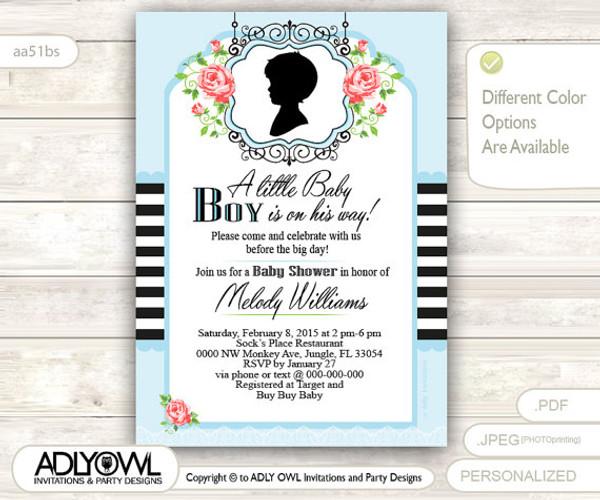 Retro Roses Boy Baby Shower Invitation With Black Stripes And Powder Blue  Background, Shabby Roses