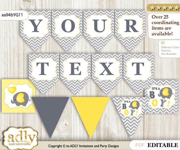 Personalized Peanut Elephant Printable Banner for Baby Shower, Yellow Grey, Chevron