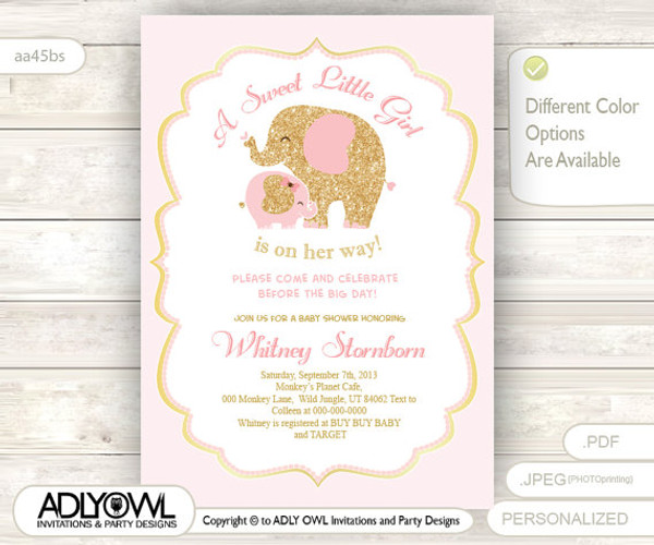 Gold pink elephant baby shower invitation card a sweet little girl gold pink elephant baby shower invitation card a sweet little girl is on her way filmwisefo