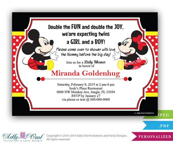 Twins baby shower mickey and minnie mouse baby shower invitation twins baby shower mickey and minnie mouse baby shower invitation card doubles girl filmwisefo