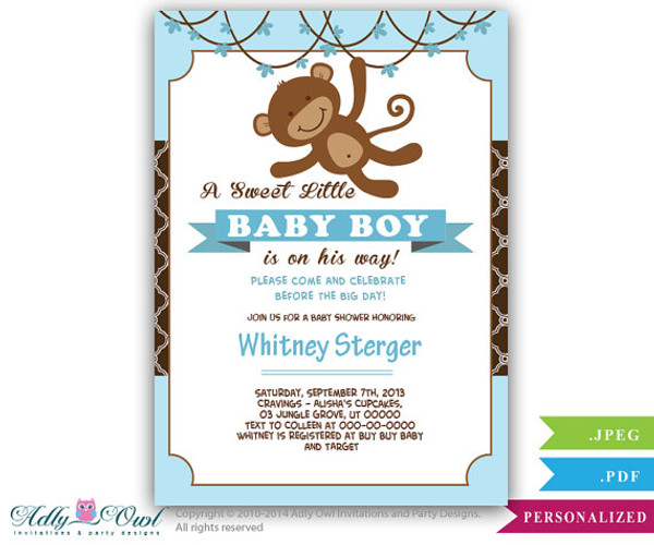 Boy Monkey Invitation for Baby Shower, Monkey in Jungle, Swing on over, it's a boy, african american, cute monkey