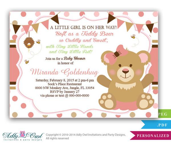 Girl Teddy Bear Baby Shower Invitation card bee and bear soft bear